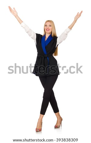 Woman in black fashionable vest isolated on white - stock photo