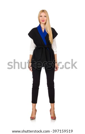Woman in black fashionable vest isolated on white