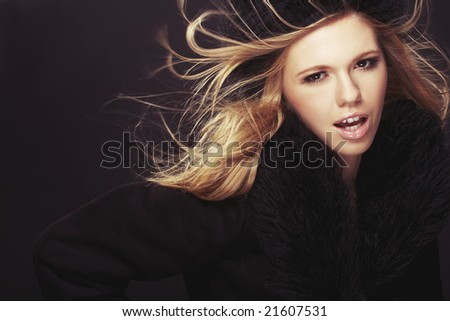 Woman in black fur hat and coat - stock photo