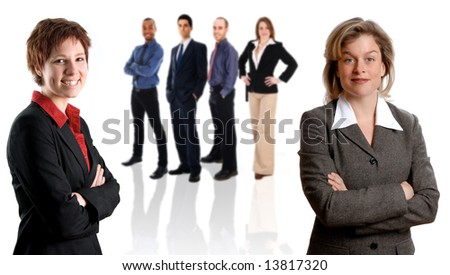woman in black jacket with her business team - stock photo