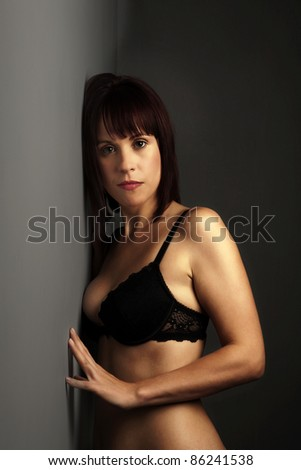 woman in black underwear looking sexy - stock photo