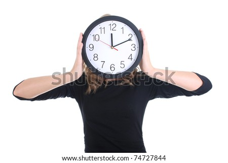 Woman in black with clock over white - stock photo