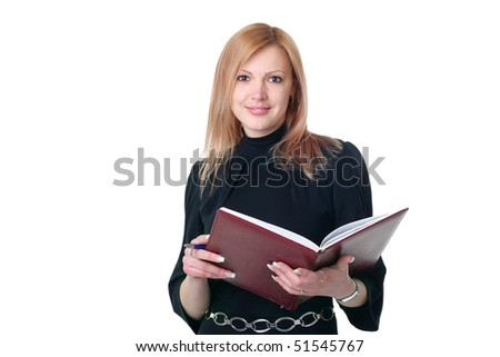 Woman in black with copybook