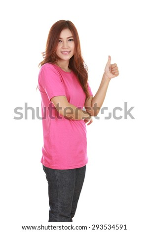 woman in blank pink t-shirt with thumbs up isolated on white background