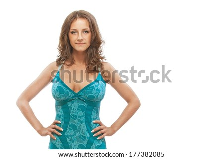 Woman in blue dress, on white background. - stock photo