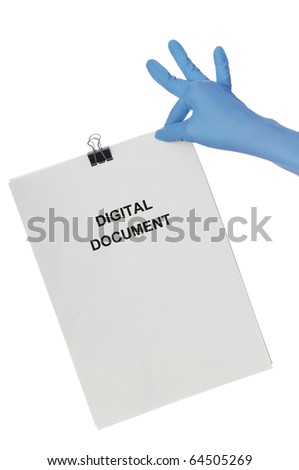 Woman in blue gloves holding digital document in the hand - stock photo
