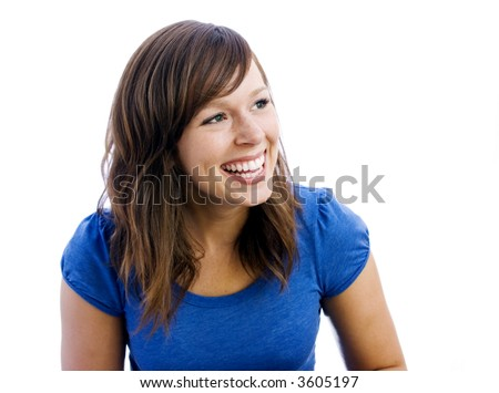 woman in blue laughing