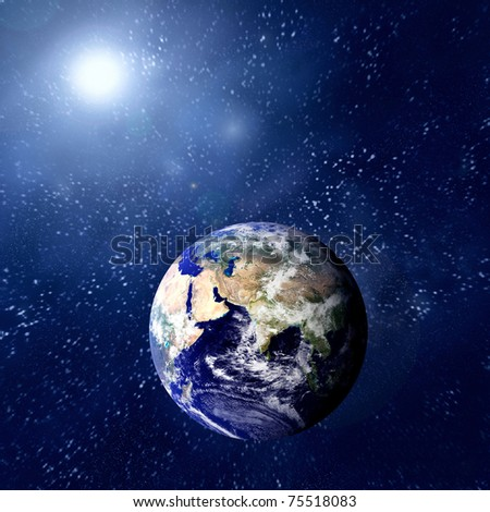 Woman in blue sleeping on the planet in space. - stock photo