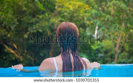 Ecotourism stock images royalty free images vectors - Swimming pool girl christmas vacation ...