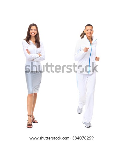 woman in business attire and tracksuit - stock photo