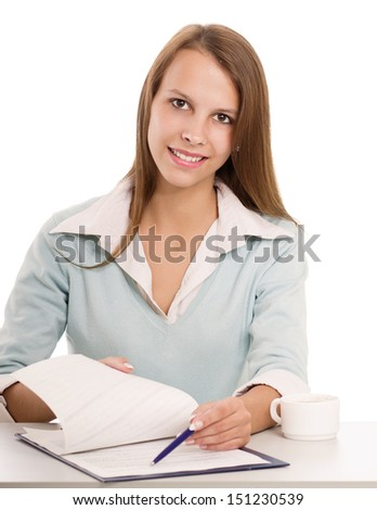 Woman in business giving job application isolated on white background