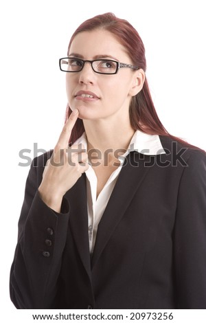 Woman in business suit with her finger on her chin thinking it over - stock photo