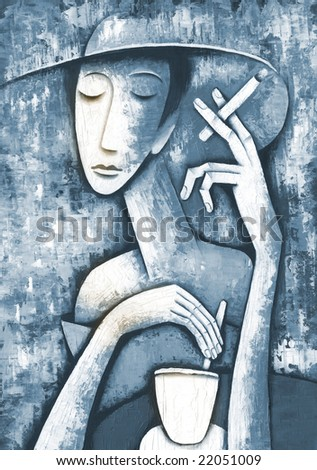 Woman in cafe. Illustration by Eugene Ivanov. - stock photo