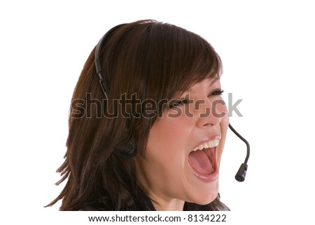 woman in callcenter - stock photo