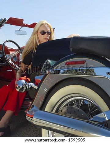 Woman in car. - stock photo