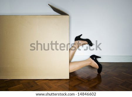 Woman in cardboard box, heels out - stock photo