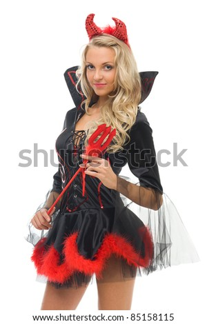 woman in carnival costume.  Devil shape. Isolated image - stock photo