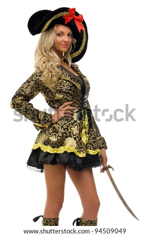 Woman in carnival costume. Pirate shape. Isolated image - stock photo