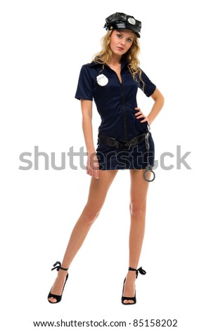woman in carnival costume.  Police woman shape. Isolated image - stock photo