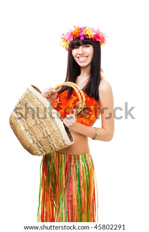 Woman in carnival costume with basket wearing crown of flowers