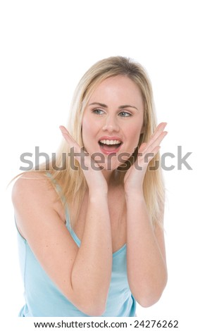 woman in casualwear with surprised facial expression isolated on white - stock photo