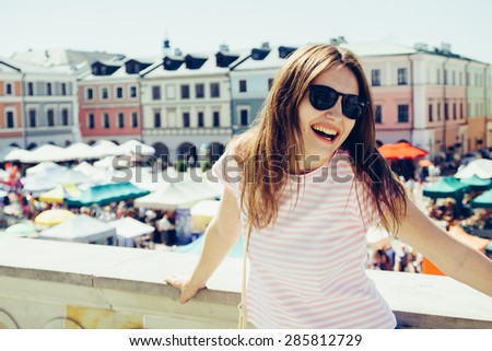 woman in city - stock photo