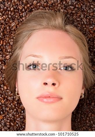 woman in coffe - stock photo