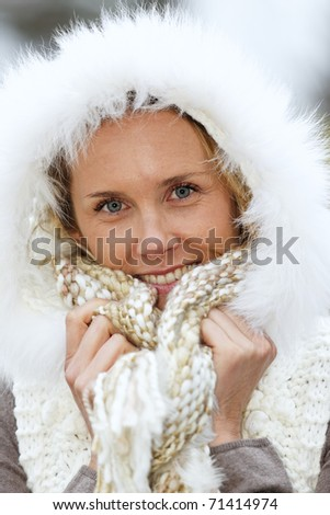 woman in cold - stock photo