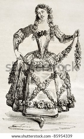 Woman in costume old illustration. By unidentified author, published on Magasin Pittoresque, Paris, 1842 - stock photo