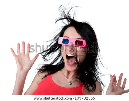 woman in 3-d glasses with surprised expression, white background