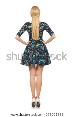 Woman in dark blue floral dress isolated on white - stock photo