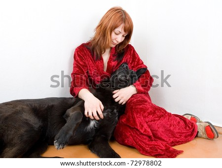 woman in depression with dog - stock photo