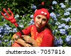 Woman in devil costume - stock photo