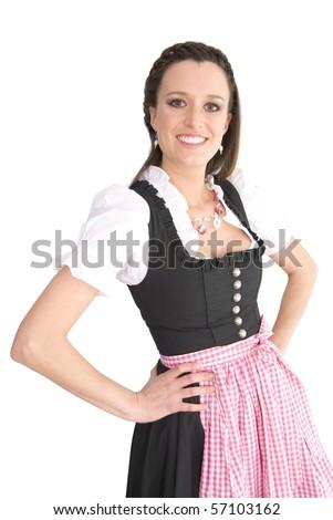 Woman in Dirndl dress - stock photo