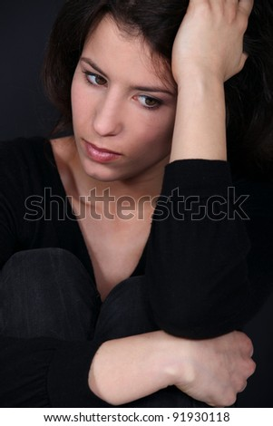 Woman in discomfort - stock photo