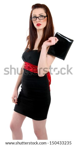 woman in  dress  and bag over white