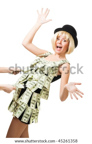 Woman in dress made of dollars fall but someone hold her
