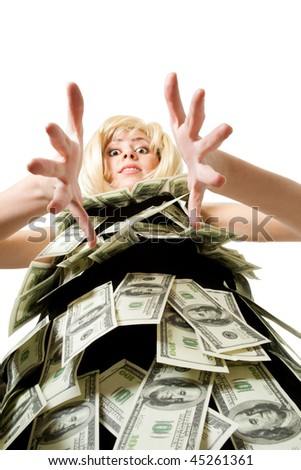 Woman in dress made of dollars look at camera unusual view