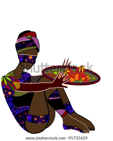 Woman in ethnic style eats his food - stock photo