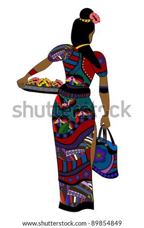 woman in ethnic style goes about his business - stock photo