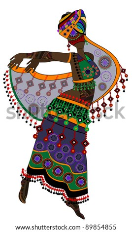 woman in ethnic style in a beautiful dress dancing a religious dance - stock photo