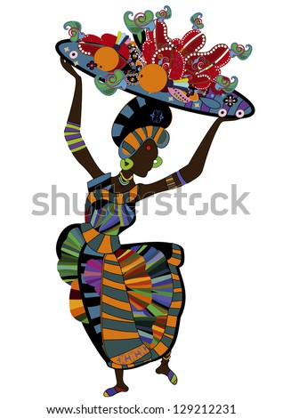 woman in ethnic style with a plate of food for you - stock photo