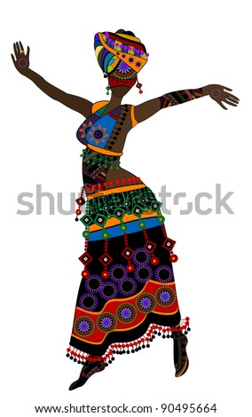 Woman in ethnic style with a white background - stock photo