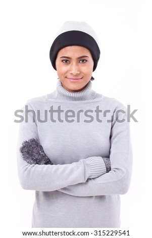 woman in fall or winter clothing isolated - stock photo