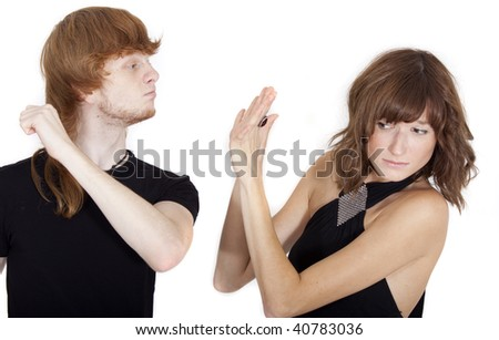 woman in fear afraid of domestic violence abuse - stock photo