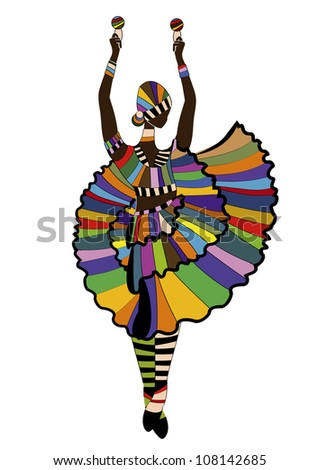 woman in festive dress dancing carnival dance on a white background - stock photo