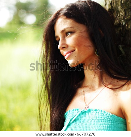 woman in forest close up - stock photo