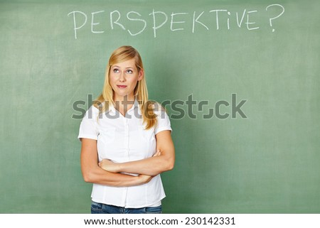 "Woman in front of chalkboard thinking with German word for ""perspectives"" written on it"