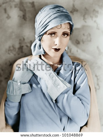 Woman in gloves and hat - stock photo