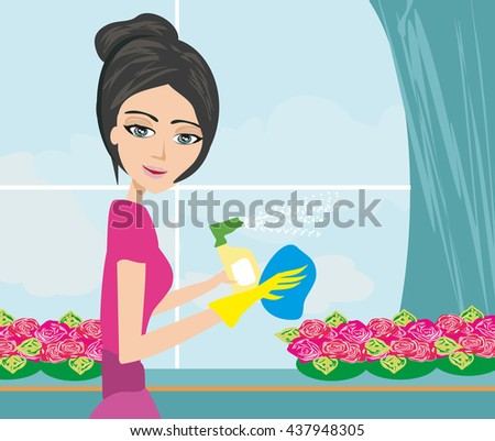 woman in gloves cleaning window - stock photo